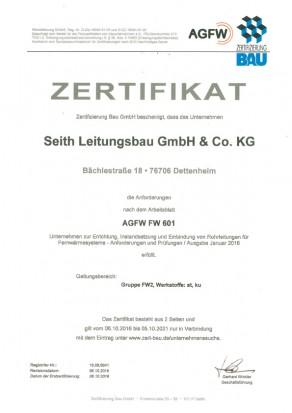 Zertifikat FW 2 nach AGFW 601, Seith Leitungsbau GmbH & Co.KG