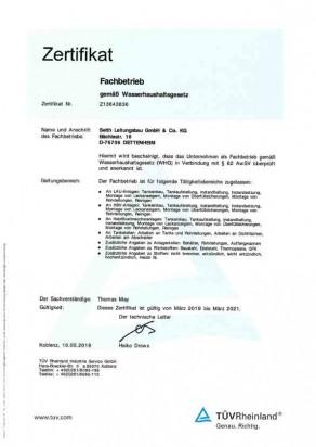 Fachbetrieb WHG (Wasserhaushaltsgesetz), Seith Leitungsbau GmbH & Co.KG
