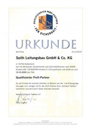 Urkunde nach GW 129, Seith Leitungsbau GmbH & Co.KG