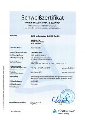 TÜV-Schweißzertifikat-EN-1090-dt.-S, Seith Leitungsbau GmbH & Co.KG
