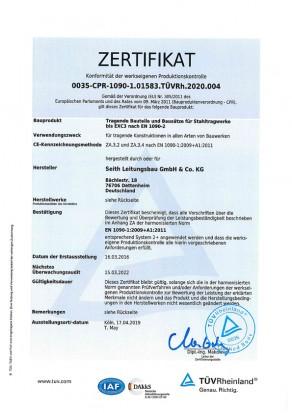 TÜV Zertifikat Tragende Bauteile und Bausätze für Stahltragwerke dt. S. 1, Seith Leitungsbau GmbH & Co.KG