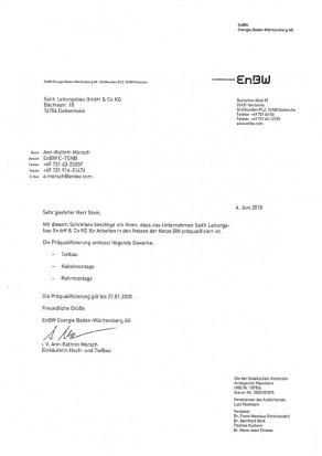 Präqualifikation der EnBW für Netzbau und Tiefbau, Seith Leitungsbau GmbH & Co.KG