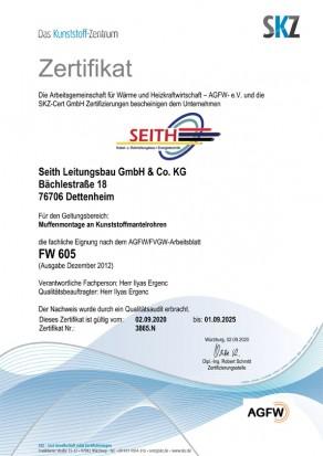 Zertifikat nach AGFW FW 605, Seith Leitungsbau GmbH & Co.KG