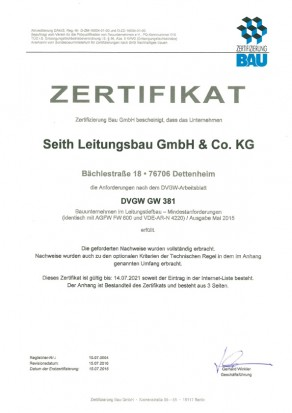 Zertifikat GW 381 nach DVGW: Tiefbaubetrieb im Leitungsbau, Seith Leitungsbau GmbH & Co.KG