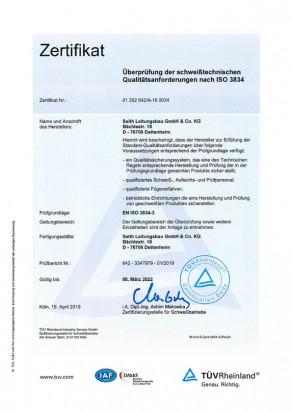 DIN EN ISO 3834 Überprüfung der schweißtechnischen Qualitätsanforderungen nach ISO 3834, Seith Leitungsbau GmbH & Co.KG